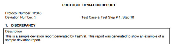 Example Deviation Report, generated from the FastVal deviation report template