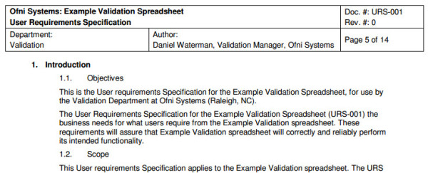 User requirement specification from the FastVal user requirement specification template.