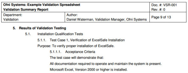 Example validation summary report, generated from the FastVal validation summary report template
